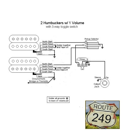 Wiring Two Humbuckers With One Volume Knob on toggle switch wiring diagram