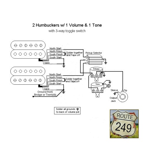 3 wiring two humbuckers with one volume and one tone one humbucker one volume one tone wiring diagram at soozxer.org