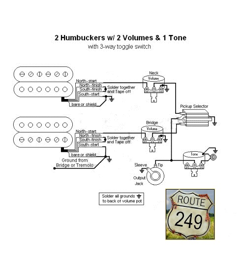 Wiring two humbuckers with two volumes and One Tone - Route 249 on 2 tone 1 volume bass diagram, toggle with 1 pickup wiring diagram, humbucker pickup wiring diagram,