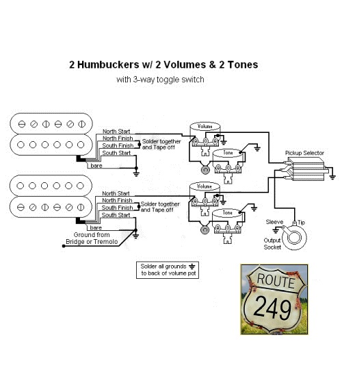 Wiring Two Humbuckers With Two Volume And Two Tone Knobs