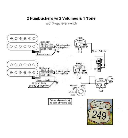 6 wiring two humbuckers with two volumes and one tone route 249