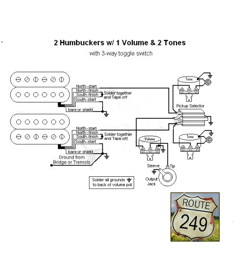 wiring two humbuckers with one volume and two tone controls route 249 rh route249 com guitar wiring 2 volume 1 tone no switch guitar wiring 1 volume no tone