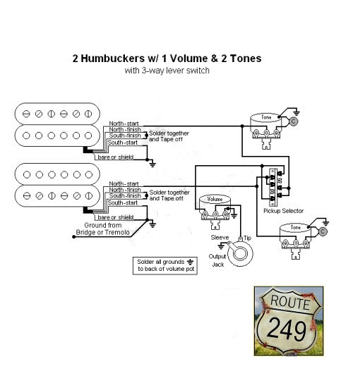 wiring two humbuckers with one volume and two tone controls route 249 rh route249 com Single Humbucker Wiring-Diagram Guitar Wiring Diagram Two Humbuckers